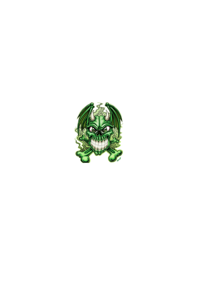 Angry green skull