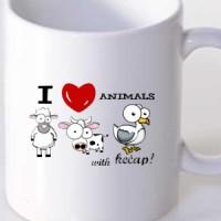 Mug I Love Animals - With Ketchup!
