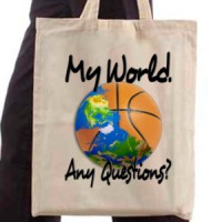 Shopping bag Basketball. My World. Any Questions?