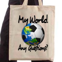 Shopping bag Football. My World. Any Questions?