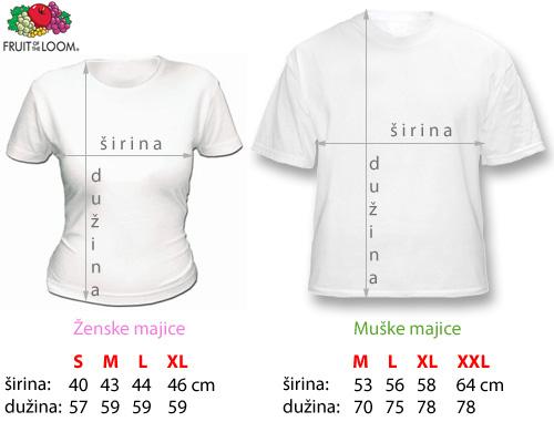 dimenzije majica u centimetrima